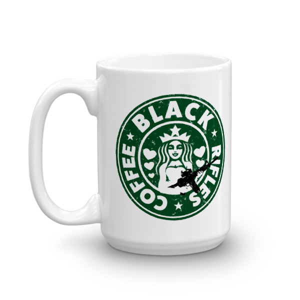 Black Rifles and Black Coffee distressed look Coffee Mugs